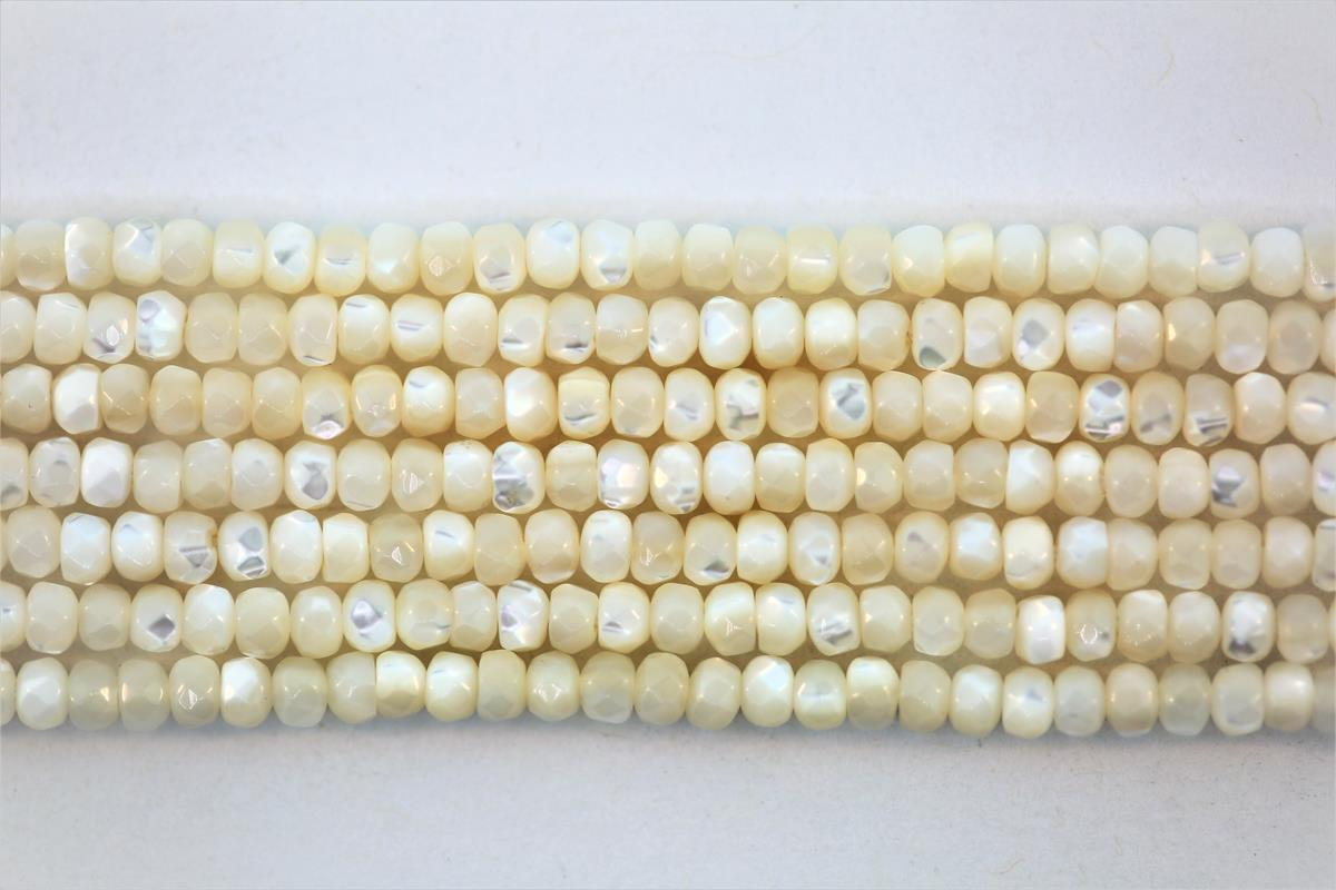 MOP White Faceted Rondelle 4mm
