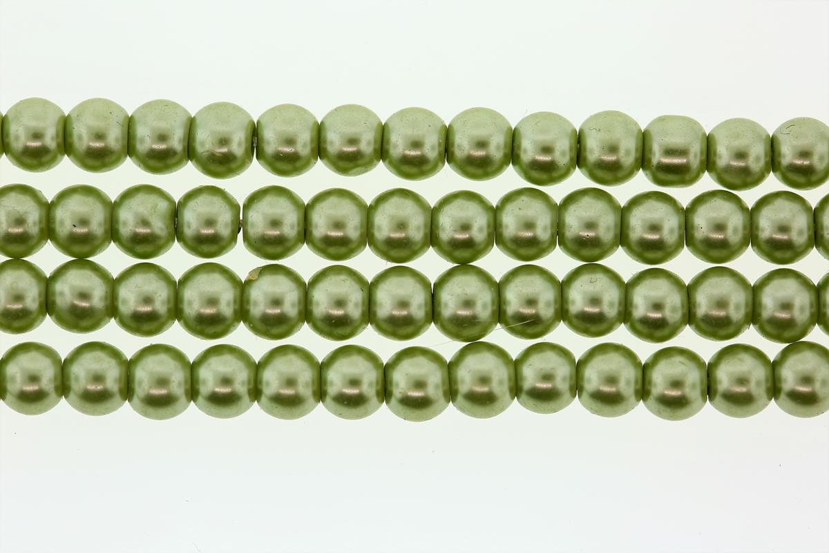 Glass Pearl Lt Green Round 6mm