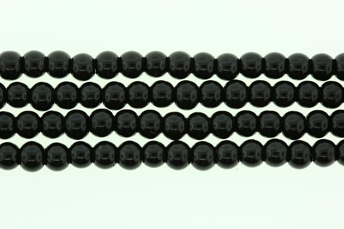 Glass Pearl Black Round 6mm