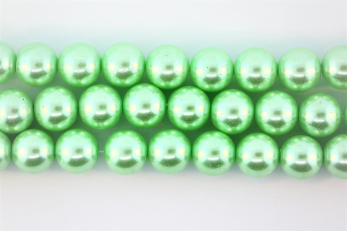Glass Pearl Green Round 14mm