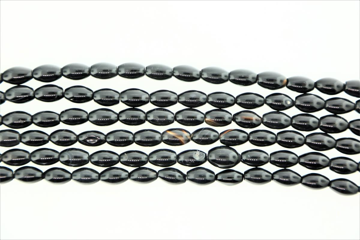 Agate Black Oval 12x8