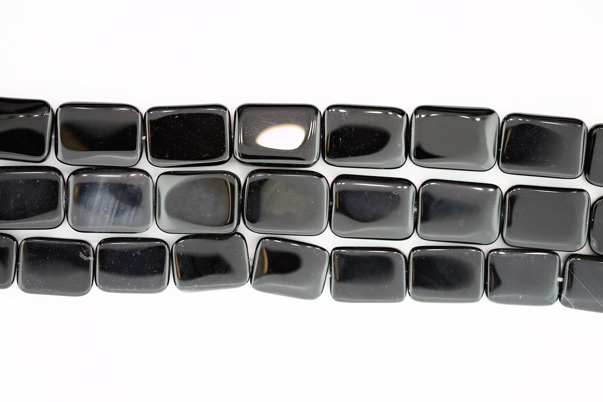 Agate Black Rectangle 16x12mm