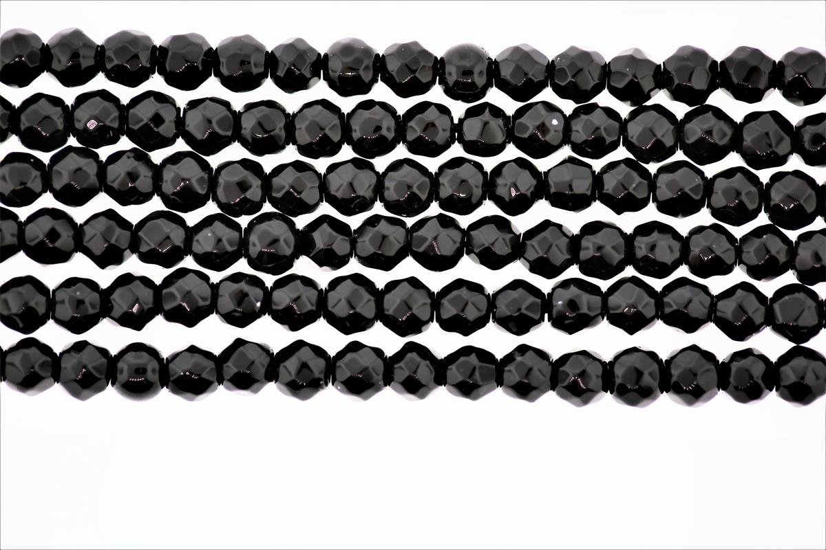 Agate Black Faceted Round 4mm