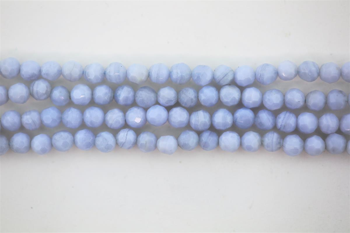 Agate Blue Lace Round Faceted