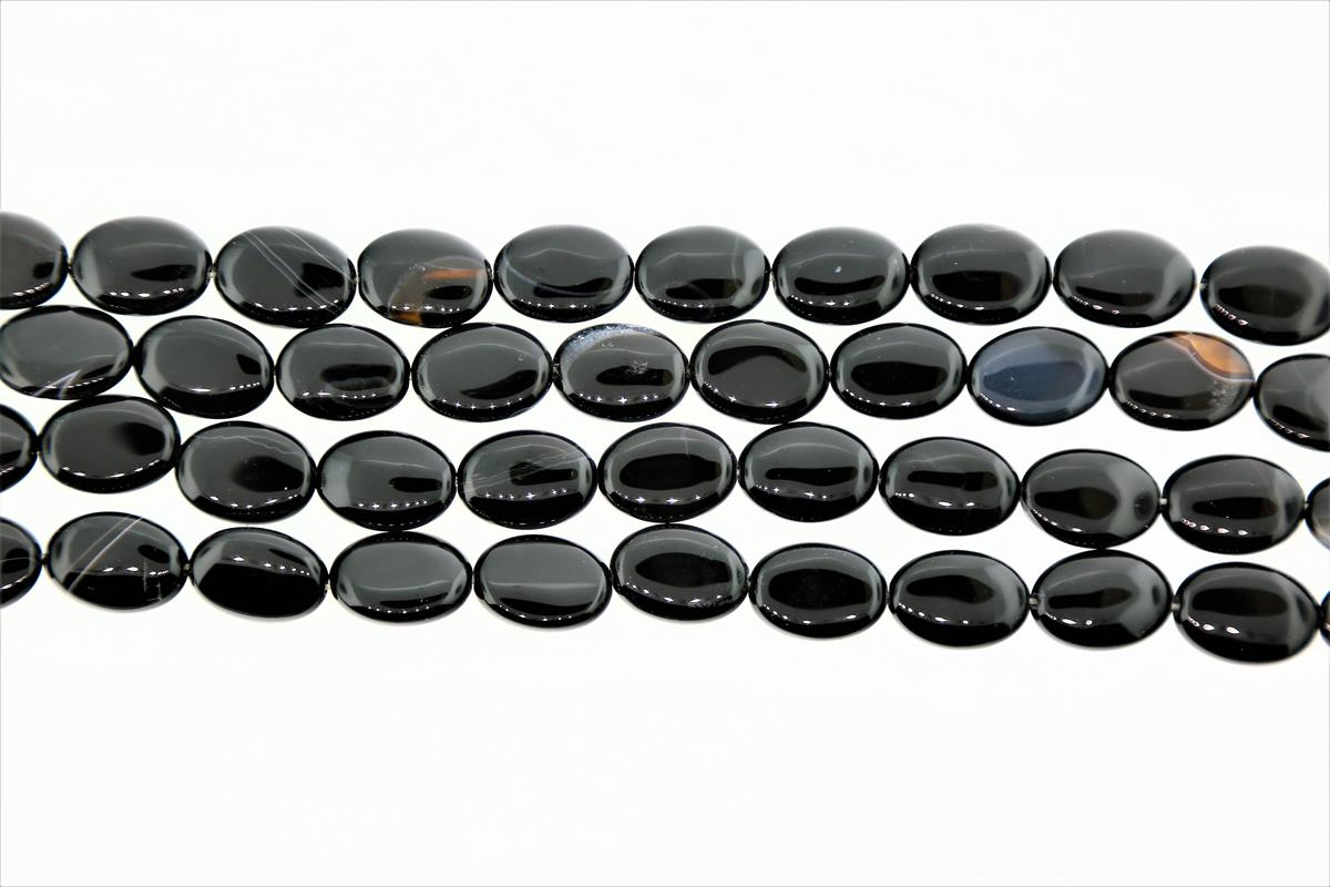 Agate Black Oval 18x13mm