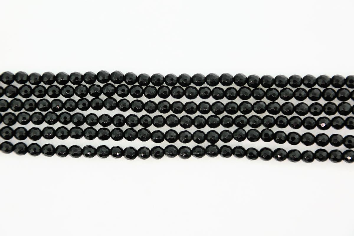 Agate Black Faceted Round 6mm