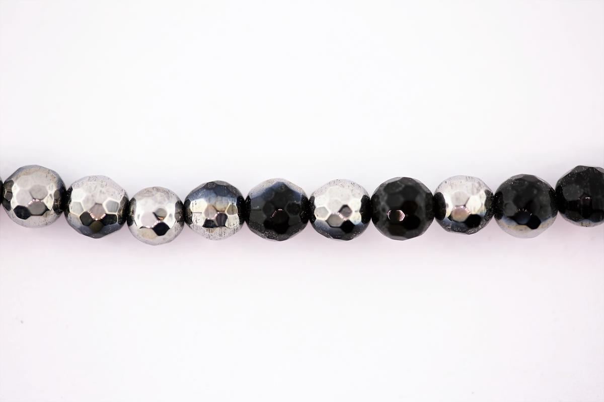 Agate Black w/Silver Faceted