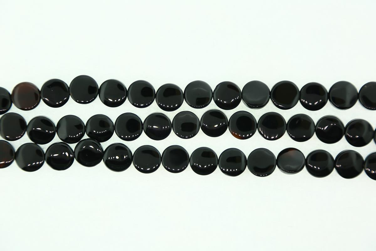 Agate Black 12mm Coin