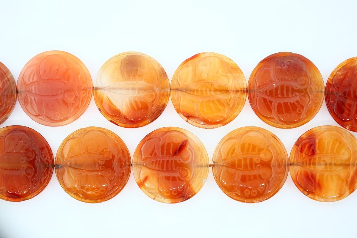 Carnelian Carved Coin 30mm