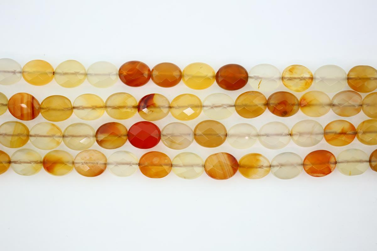 Carnelian Faceted Flat Oval