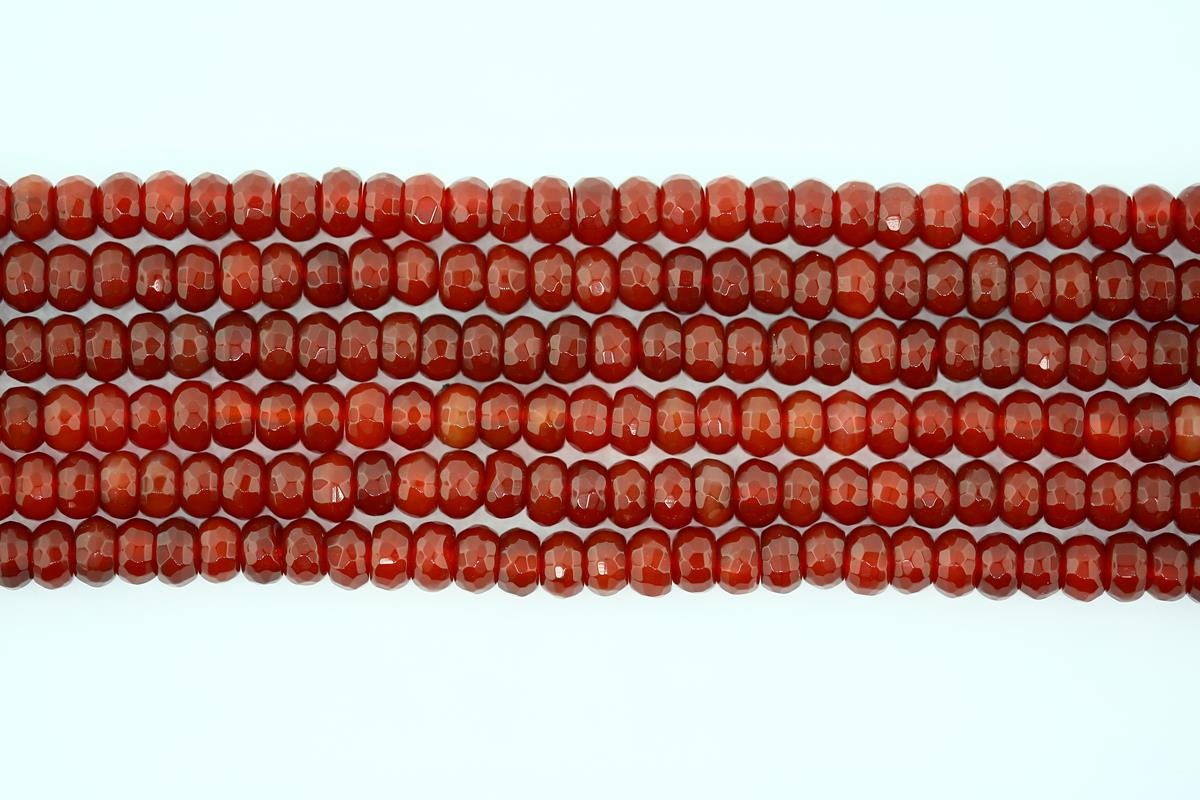 Carnelian Faceted Rondelle 6mm