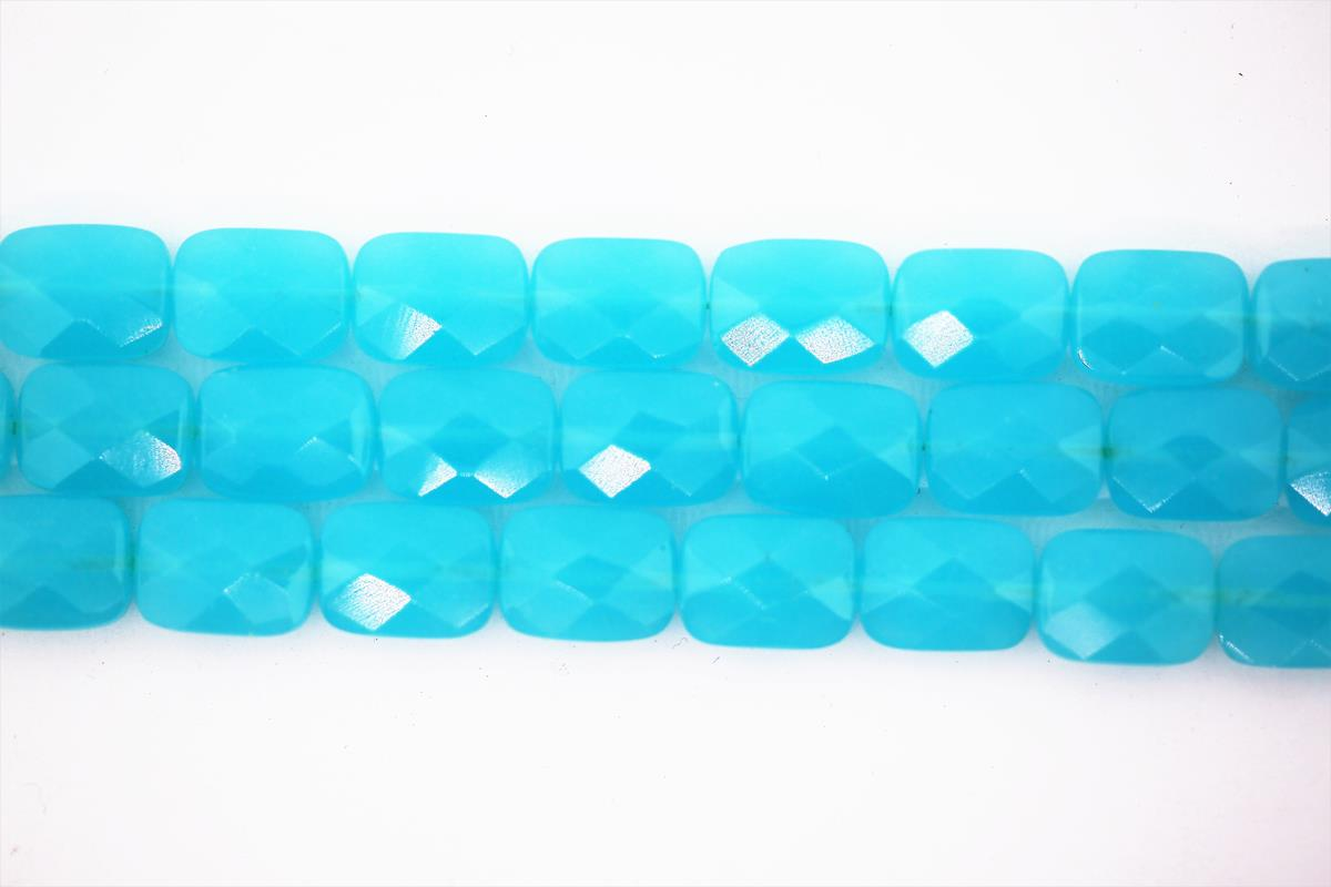 Glass Chalcedony Faceted Rect