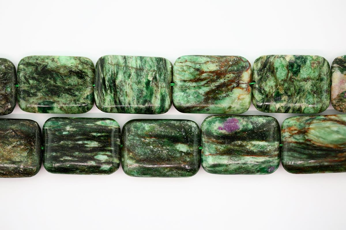 Fuschite w/Ruby Rect 22x30mm