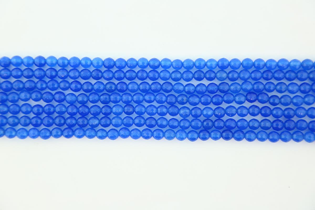 Agate Blue Faceted Round 6mm