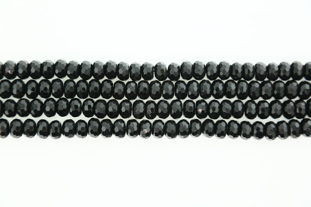 Agate Black Faceted Rondelle