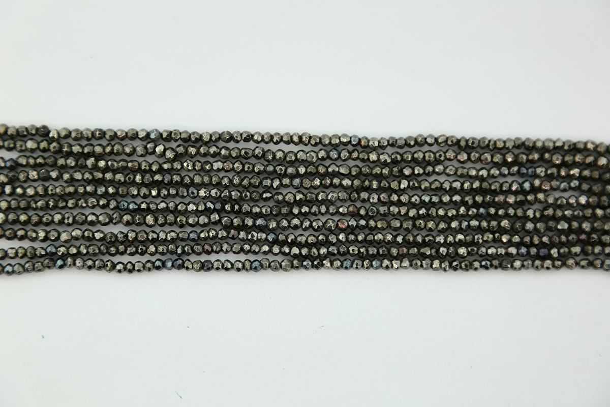 Pyrite Plated Black Faceted