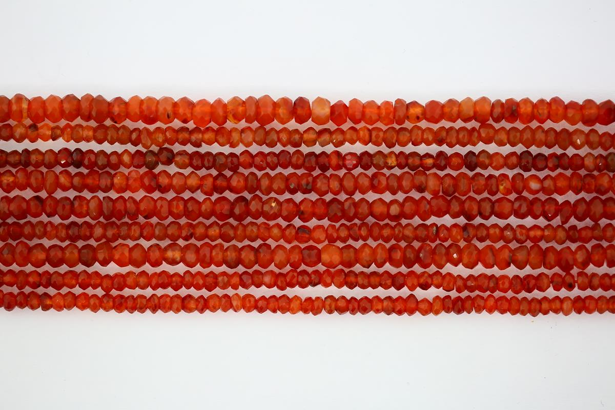 Carnelian Faceted Rondelle