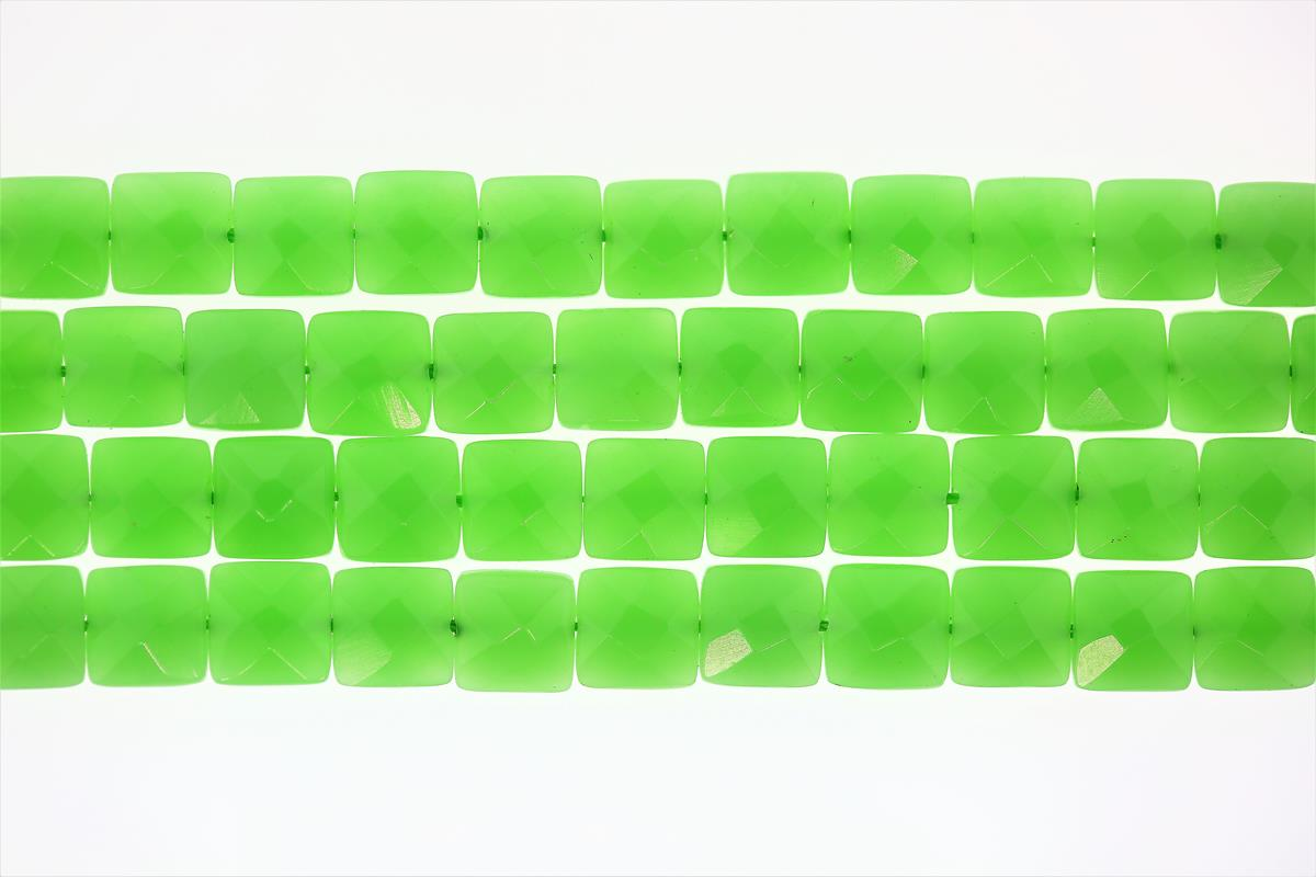 Glass Green Faceted Square