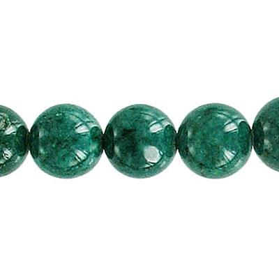 Fossil Bead Dk Green Round