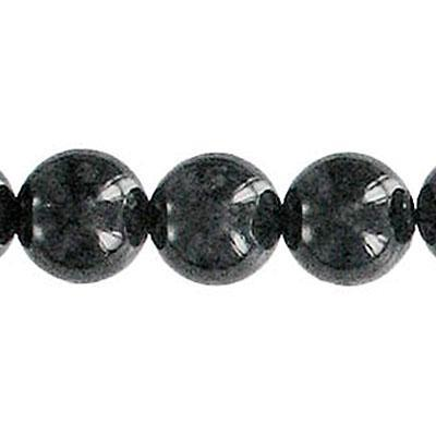 Fossil Bead Black Round 12mm
