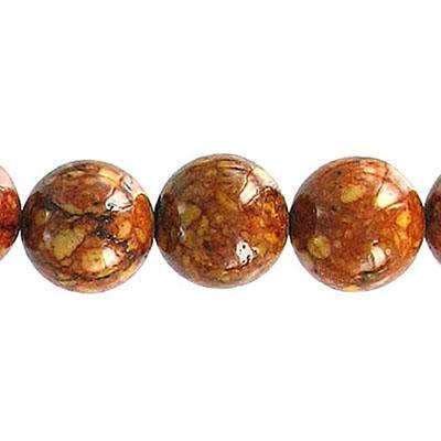 Fossil Bead Red Brown Round