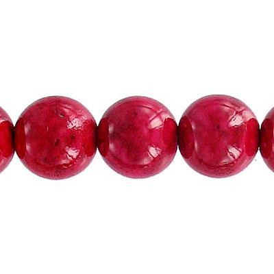 Fossil Bead Red Round 12mm
