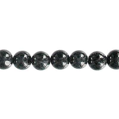 Fossil Bead Black Round 6mm