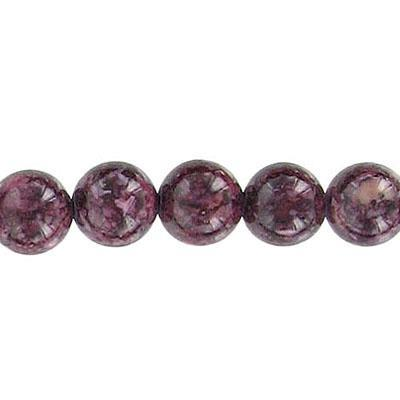 Fossil Bead Burgundy Round 8mm